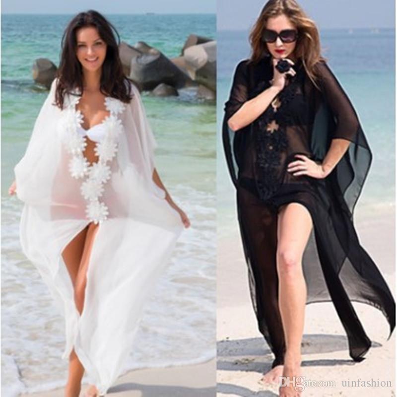 Praia encobrir vestido de rendas praia túnica Pareos Swimwear Mulheres biquíni cobrir até Chiffon maiô maiô protetor solar