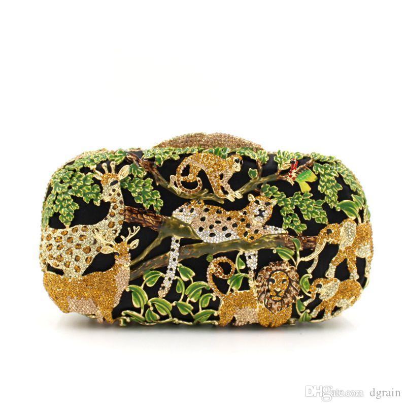 Dgrain Tier-Zoo-Dschungel Tiger Deer Metall-Frauen-Kristallabendtasche Clutch magische Minaudiere Handtasche Box Luxus Braut Hochzeit Geldbeutel
