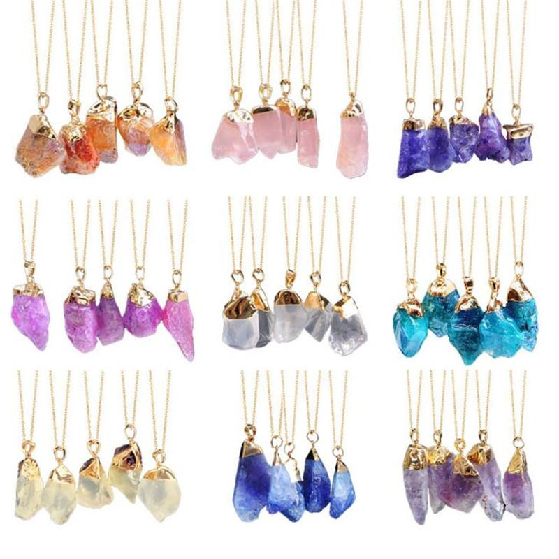 Fashion Natural Crystal Necklace Quartz Healing Chakra Natural Stone Pendant Necklace Couples Necklace Jewelry For Gift