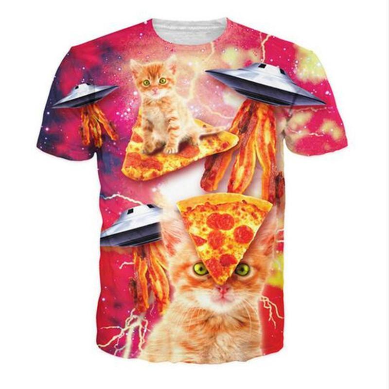 3D Printed T-Shirts Funny Cats Short Sleeve Tops Tees