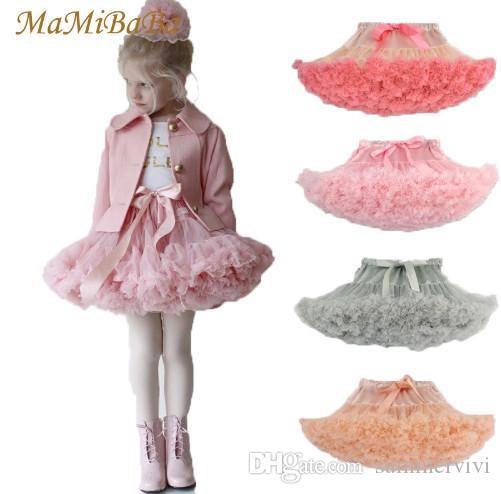 Girls ruffle tutu skirts Children ribbon Bows stain tulle tutu skirts 26 colors kids lace princess party skirt children bottoms R2656