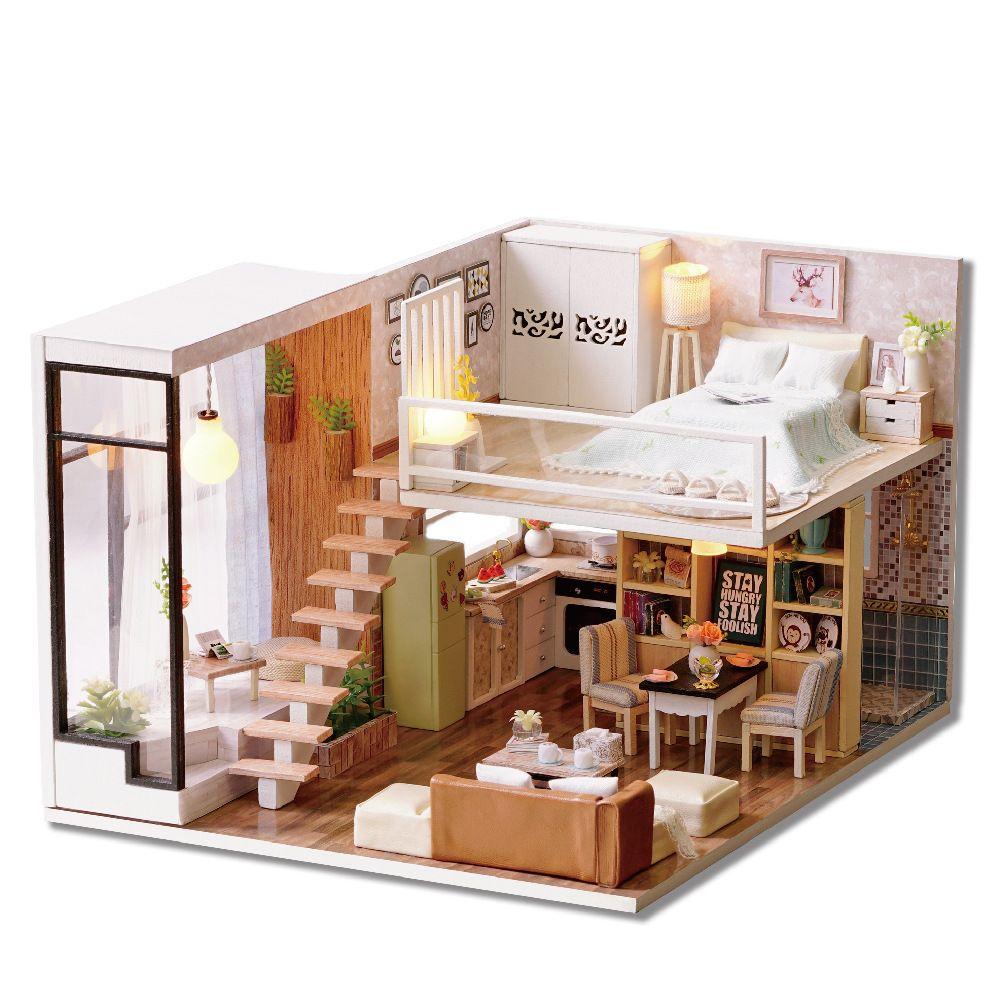 Toptan-Ahşap Minyatür DIY Oyuncak Ev Oyuncak Doğum Hediye L020 için Setleri 3D Minyatür Dollhouse Oyuncak ile Mobilya Lights birleştirin