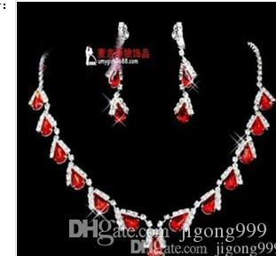 красный цвет киста свадьба невесты леди набор ожерелье серьги jjkhjkghfg