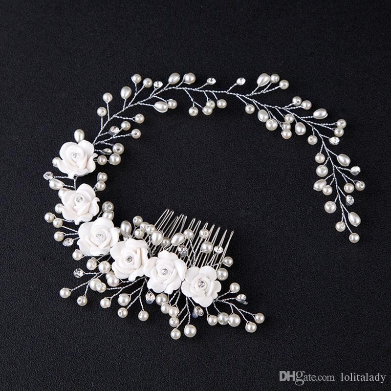 Branco Handmade Floral Headbands para As Mulheres de Noiva Acessórios de Noiva Headband Do Vintage Pérola Jóias Cabelo para o Presente de Aniversário