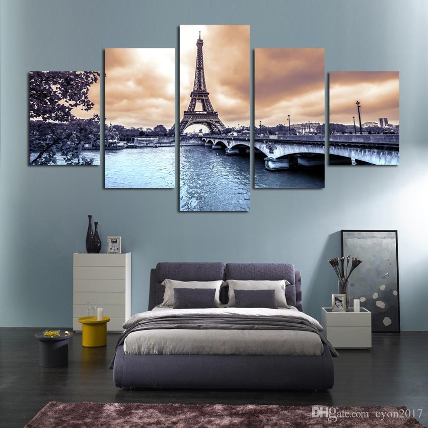 캔버스 포스터 아트 페인팅 프레임 홈 장식 5 패널 파리 풍경 에펠 탑 풍경 거실 벽 HD 인쇄 된 그림