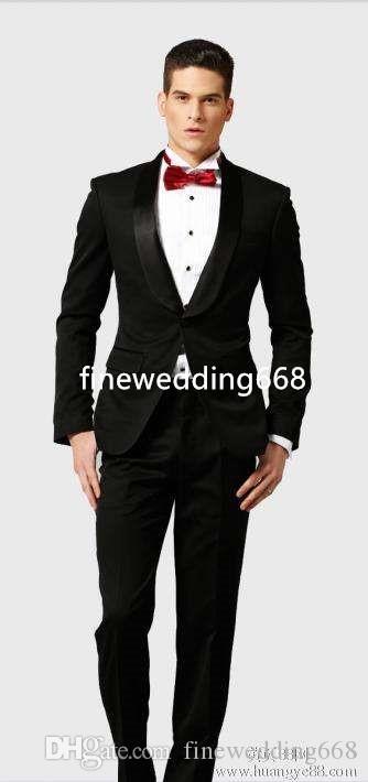Dostosuj Dwukierki Wysokiej Jakości Szal Lapel Wedding Groom Tuxedos Men Garnitury Ślub / Prom / Dinner Best Man Blazer (Kurtka + Tie + Paski + Spodnie)