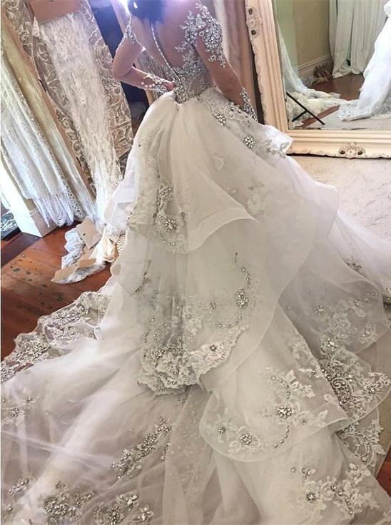 Vestido De Noiva Sereia Luxo com tiras espaguete estilo Capela Bainha Vestido De Noiva De Trem