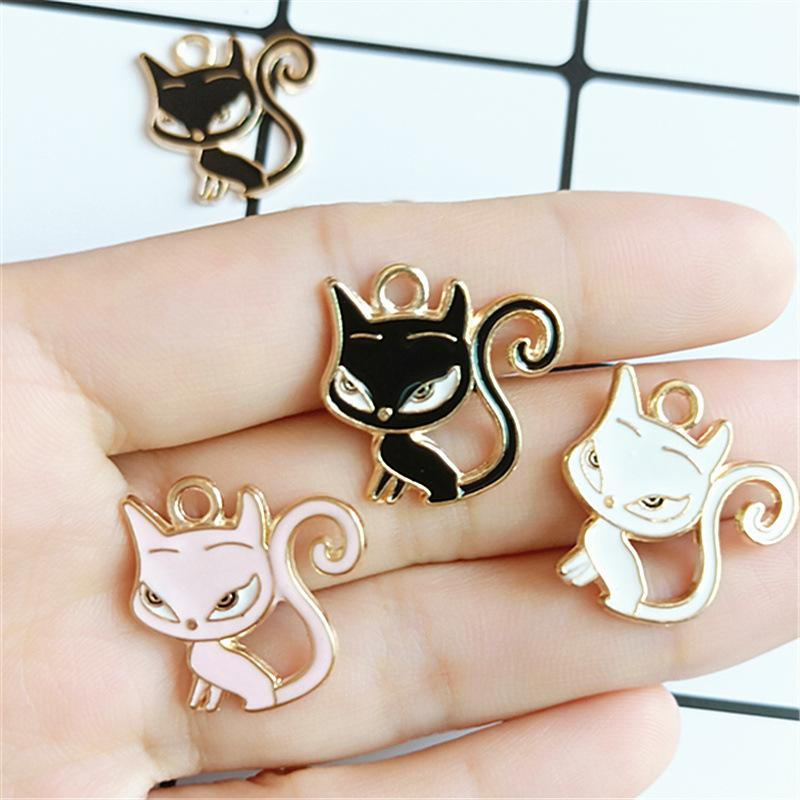 10Pcs / Lot Rhinestone Enamels Cat Charms Diy Made Handmade Making Hair Saint Arky Pendant Material Supplies 2019 New
