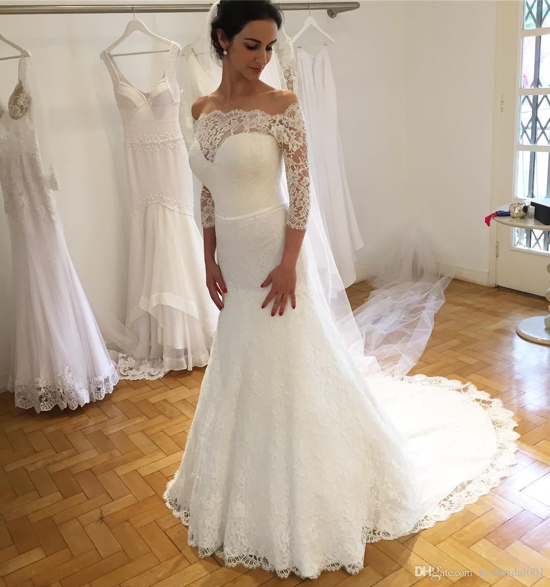 Vintage volle Spitze Brautkleider Meerjungfrau Langarm Arabische Brautkleider Bateau Neck Sweep Zug Hochzeit Empfangskleid