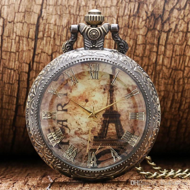 남자에 대 한 새로운 투명 유리 골동품 에펠 탑 로마 숫자 석 영 주머니 시계 목걸이 펜 던 트 시계 1 개 세트