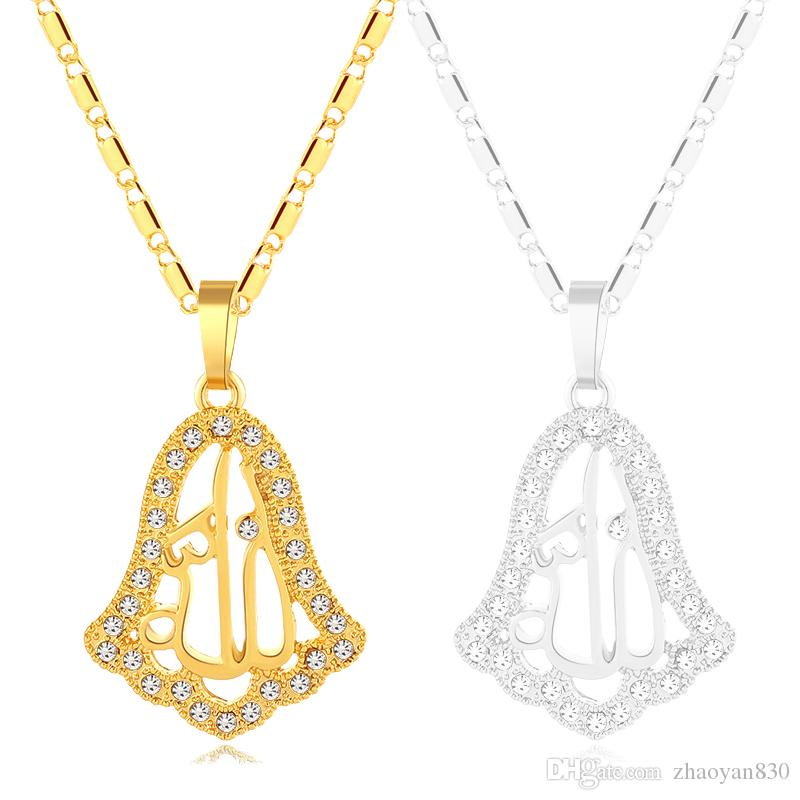 New Crystal Islamic Muslim pendant necklace/neck chain for Gold/Silver color women/girl middle eastern Arab Religious jewelry gift Bijoux