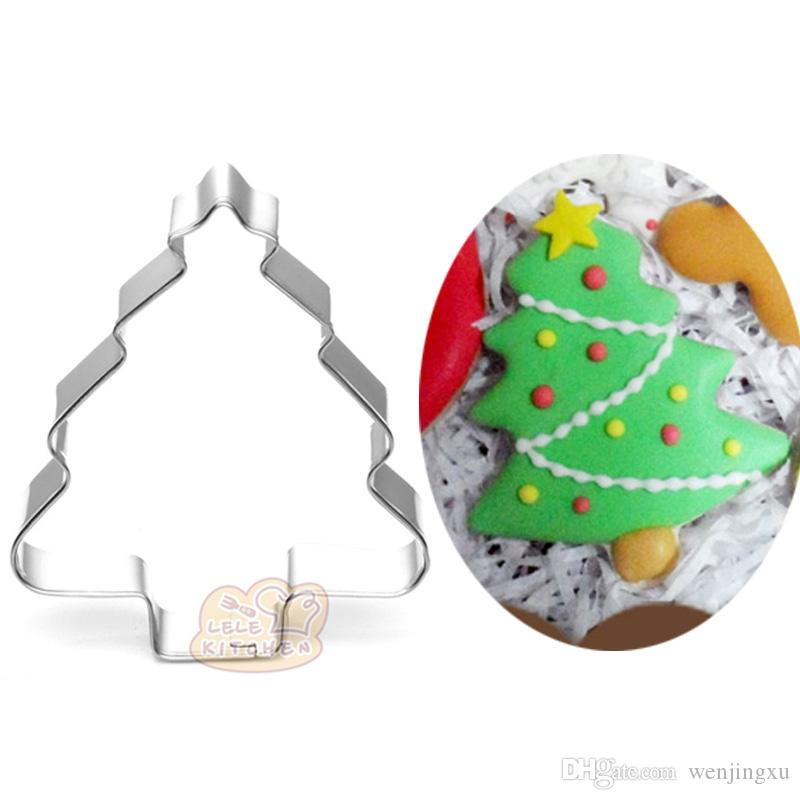10pcs Christmas tree cookie cutter Metal biscuit tool Fruit die cut Sushi stamp sandwich mold baking cake pastry tools cupcake topper