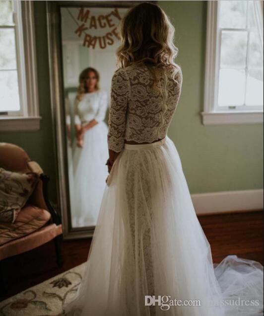 Praia Manga Longa de Duas Peças Vestidos de Casamento Sheer Lace Top Vestidos De Noiva boho verão simples vestido de noiva