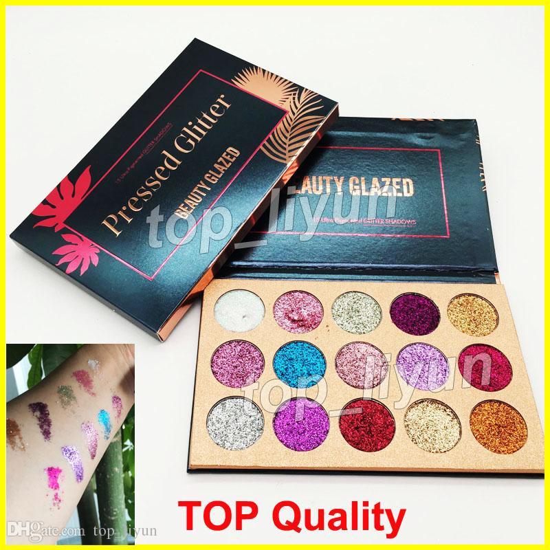 2018 marca paleta da sombra de lantejoulas beleza vitrificada maquiagem glitter eyeshadow shimmer 15 cores paleta da sombra de olho dhl frete grátis
