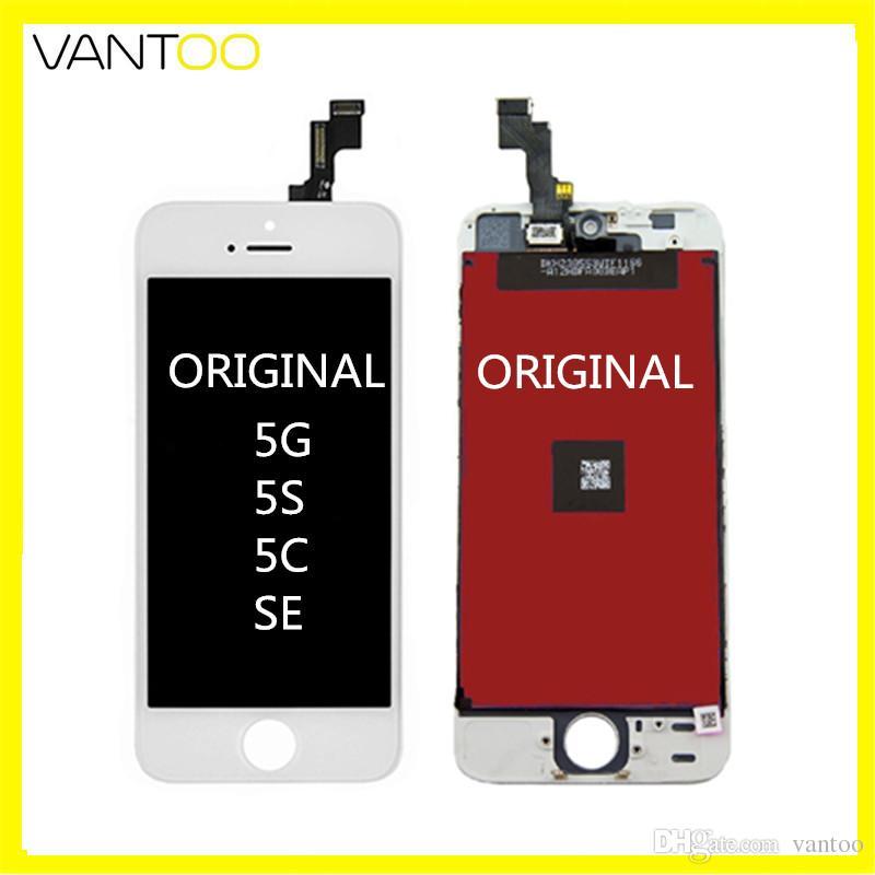 100% замена оригинала ЖК-дисплей с сенсорным экраном дигитайзер полный ЖК для Собрание Iphone 5 5s 5с SE розничной упаковке