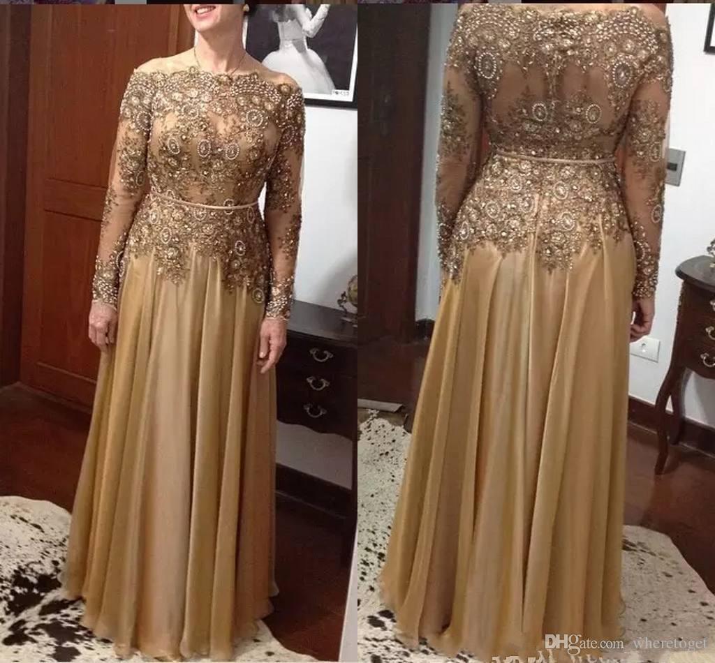 nigerian Spitze Arten Gold-eine Linie Spitze-Korn-Mutter der Braut-Kleider plus Größe Chiffon langen Ärmel Ballkleider formale Abend-Kleider
