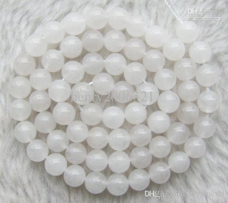 1 Strand Pedra Natural Branco Ágatas Transparentes Rodada 4 MM 6 MM 8 MM 10 MM Spacer Beads para DIY Beading Colar de Jóias Fazendo