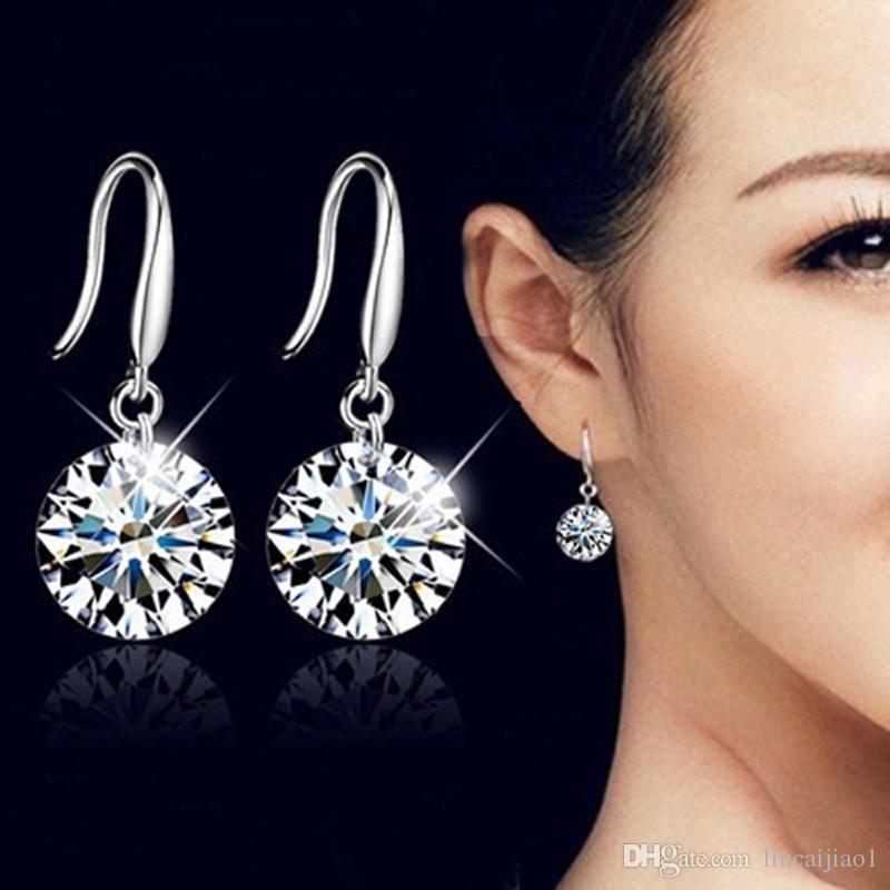Brincos europeus e americanos moda rodada brincos de cristal de diamantes brincos liga selvagem pequena jóia