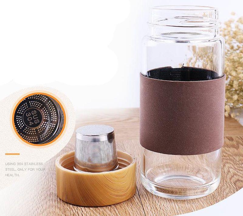 Mini 350 ml Çay Su Şişesi Su ile çay demlik Içme Çok Renkli Popüler Cam Kolayca Kapak Sürahi Taşınabilir Katı Şeffaf