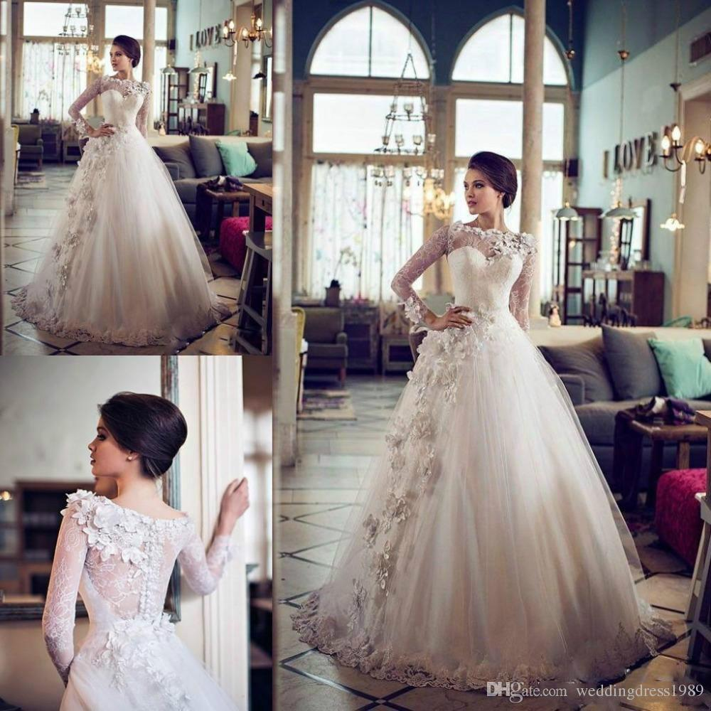 Requintado Floral Lace Vestidos De Casamento Bola de Manga Longa Flor Plus Size Trem Tule 2018 Vestido De Novia Vestido De Noiva Formal Árabe Personalizado
