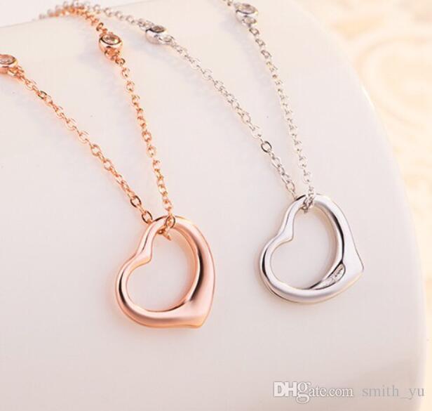 Mode Anhänger Halskette Luxus Liebe Herz Gold Silber Überzogene Marke Designer Edelstahl Religiöse Frauen Männer Schmuck T1018 Online Verkauf