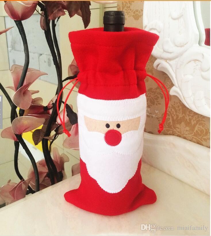 Noel çorap 32 * 13 cm Noel Baba Kırmızı Şarap Şişesi Kapağı Çanta Noel Masa şişe çantası Parti Malzemeleri DHL Ücretsiz
