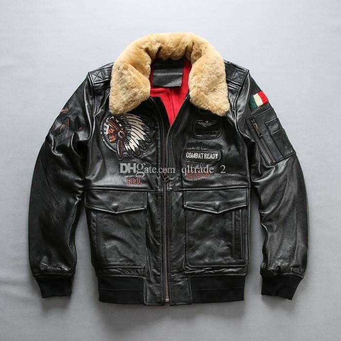 Gola de pele de cordeiro Indian head bordado jaquetas bomber 100% jaquetas de couro genuíno jaqueta de couro da motocicleta