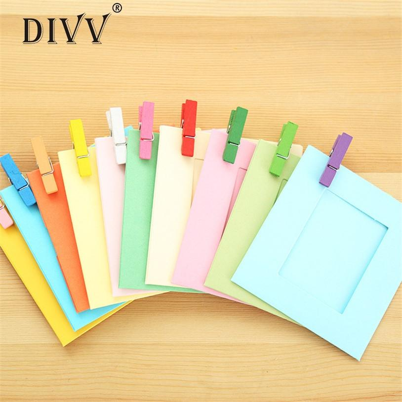 DIVV 10PCS 3INCH اللون صورة ورقة الإطار الحائط صورة حبل معلق كامب شنقا إطارات الصور