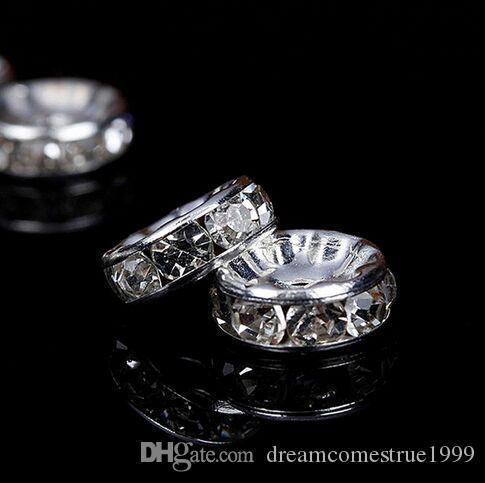 Takı Yapımı İçin 300PCS / lot Gümüş Kristal Rhinestone Rondelle Spacer Boncuk DIY 6mm 8mm takılar