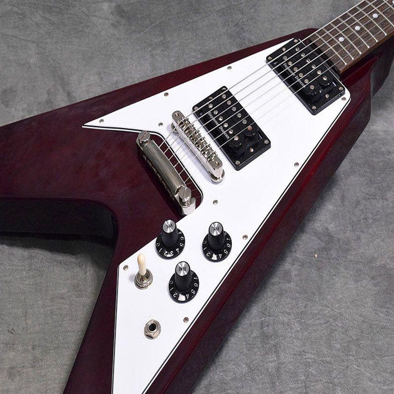 Ücretsiz nakliye / Kestane / V elektro gitar / Maun gövde / Gülağacı / 22 perdelerin / 6 dize elektro gitar kırmızı
