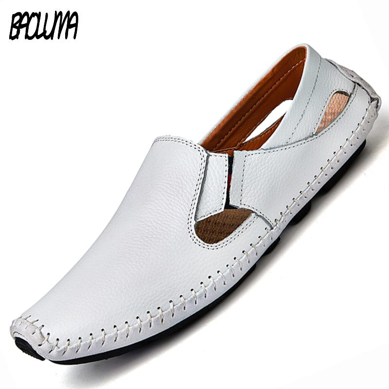 57073694381d Men Leather Sandals Designer Driving Shoes Large Size Mens Slippers Casual  Slip-on Summer Male Leather Sandals Size 38-47