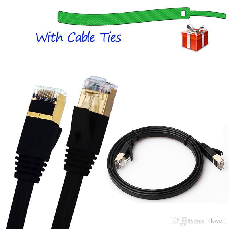 Built with Shielded RJ45 Connectors Cables /& Accessories 5m CAT7 10 Gigabit Ethernet Ultra Flat Patch Cable for Modem Router LAN Network