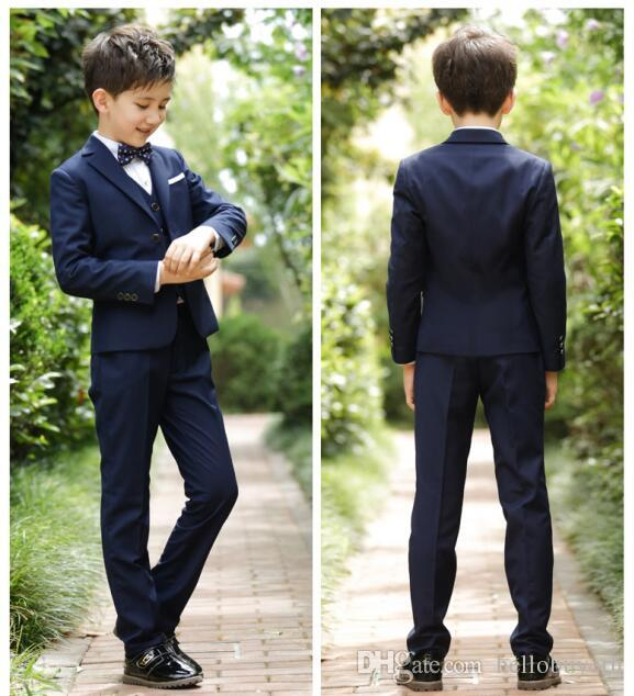 2018 Three Pieces Boy Wedding Groom Tuxedos For Boys Teens Tuxedo Custom Made Children Party Formal Pant Suits Dinner Suits