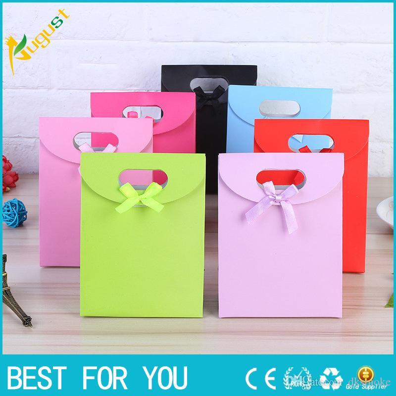 New hot One set Small+2 Medium+Large Size Colorful Merry Christmas Paper Bag Gift Bags Birthday Sweet Treat Bag Wedding Baby Shower Gift