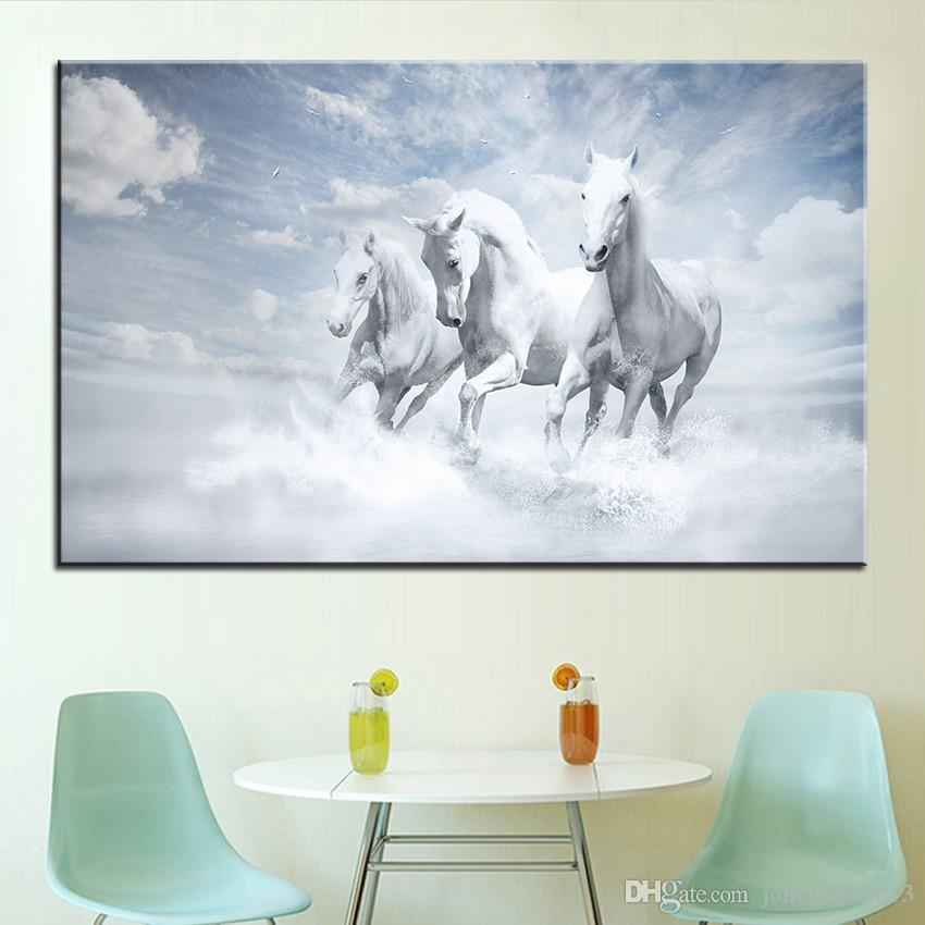 Large size Printing Oil Painting white horses Wall painting Decor Wall Art Picture For Living Room painting No Frame