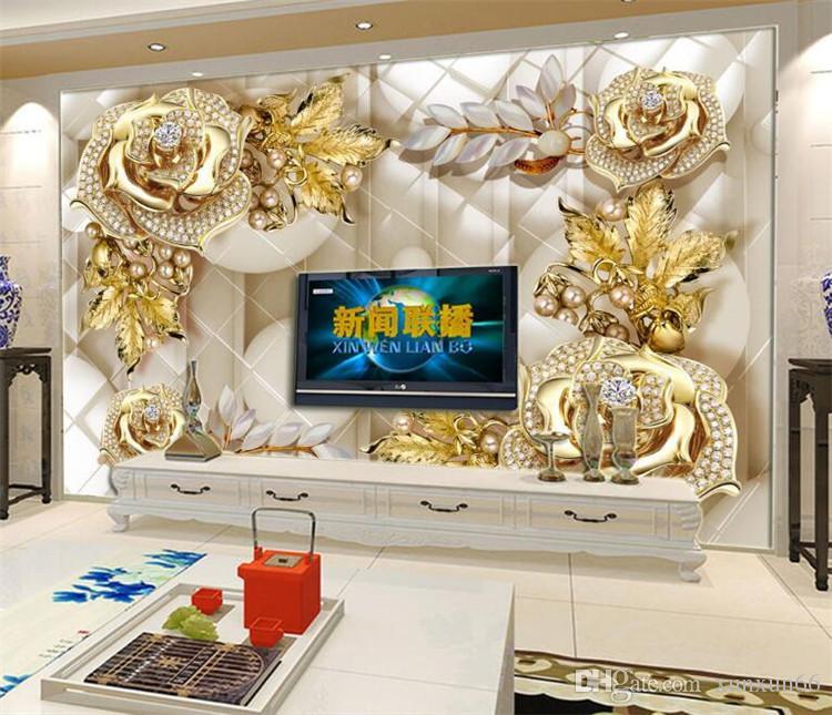 Lüks dev duvar duvar kağıtları oturma odası için 3d duvar resimleri Altın takı çiçekler TV zemin dekoratif duvar kağıdı wallcovering