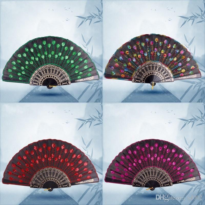 Paillettes danse fans Fan brodé Paon pliant main pour accessoires femmes étape Performance plastique Beaucoup de couleurs 1 8zq ZZ