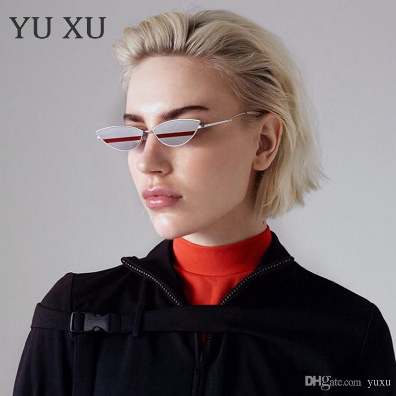 Yu Xu bicolore Cat Eye Sunglasses Women Fashion Avant-garde Color Matching Occhiali da sole Uomo Metal Frame Designer Occhiali da sole H101