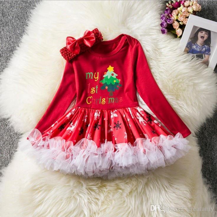 Wholesale 7style long sleeve baby girls rompers tutu santas christmas tree socks printed baby bubble skirt with headband newborn baby makeup