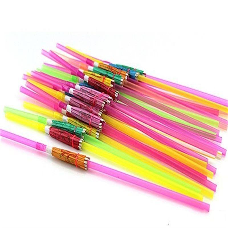 Artesanía Pajita Pañales Fiesta de cumpleaños de la boda Paraguas de la fluorescencia Decoración Pajitas Bar Color desechable Fácil de llevar 0 1ys cc