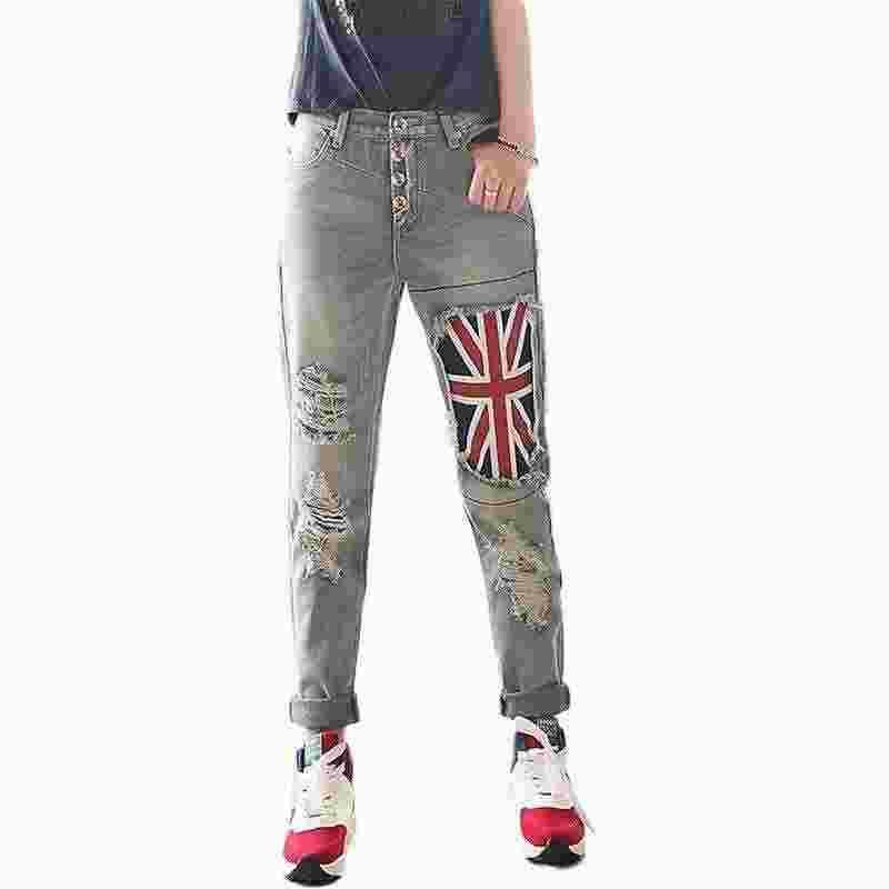 Bayrak Yama Delikler Ripped Erkek Arkadaşı Kot Kadın Yırtık Dizleri Gevşek Pantolon Ile Kadınlar Için Yüksek Bel Kot