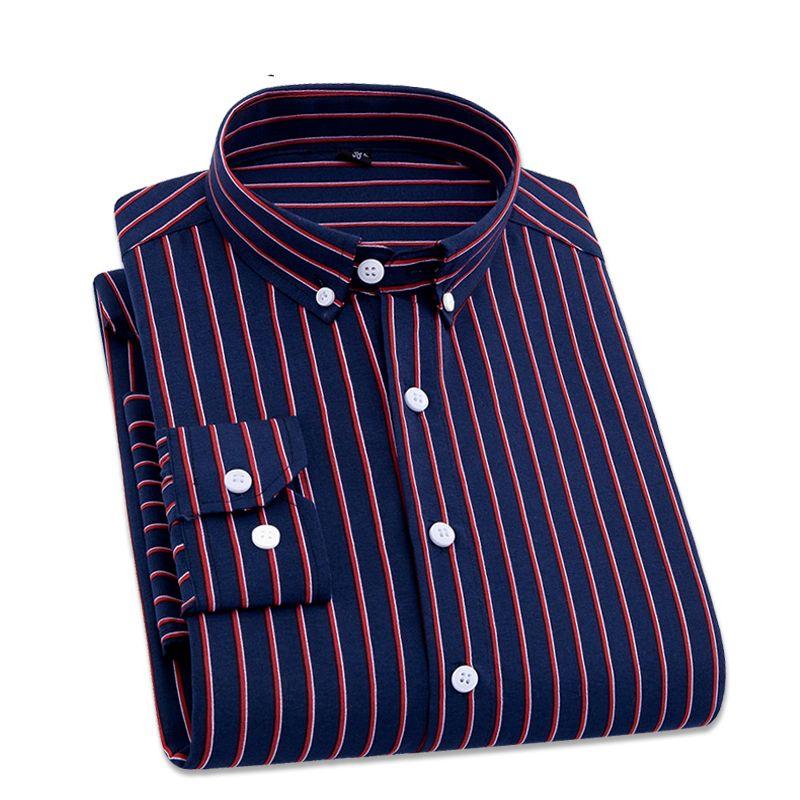 Mens Business Casual Long Sleeved Shirt Men 4XL Plus Size Shirt Classic Striped Male Social Dress Shirts Outwear