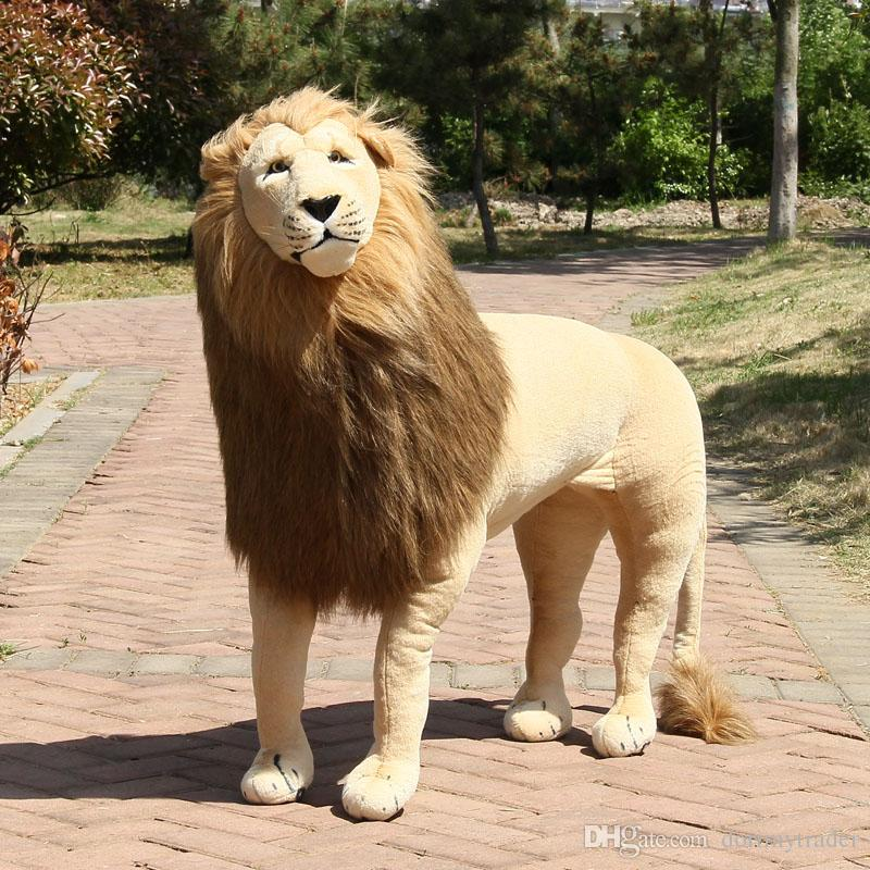 Dorimytrader Simulation Forest Animal Lion Plush Toy Large Stuffed Standing Lion House Decoration for Children Gift 43inch 110cm DY60473
