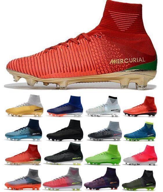 2018 الصبي الزئبقي للجنسين superfly v fg كرة القدم المرابط كريستيانو رونالدو الرجال CR7 أطفال أحذية الأطفال لكرة القدم امرأة كرة