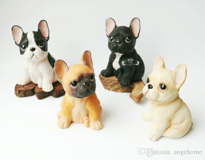الراتنج الفرنسية البلدغ الكلب مكتب ديكور المنزل الحرف اللعب - أطفال زخرفة غرفة لطيف زخرفة الحيوان التماثيل ديكورات