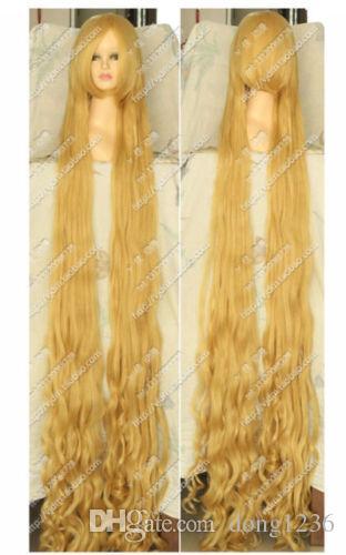 금발 얽힌 라푼젤 100 센치 메터 150 센치 메터 200 센치 메터 긴 물결 모양의 곱슬 코스프레 파티 가발 머리