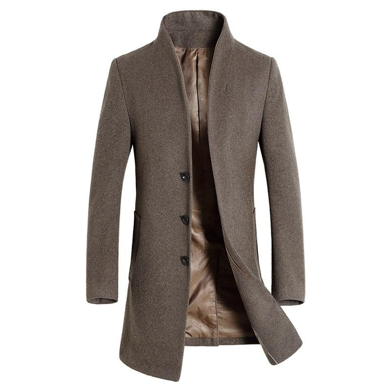 Brand 2018 New Men's Trench Coats long Classic Casual woolen Coats Autumn winter Dress Windbreaker men Slim fit full Size M-3XL