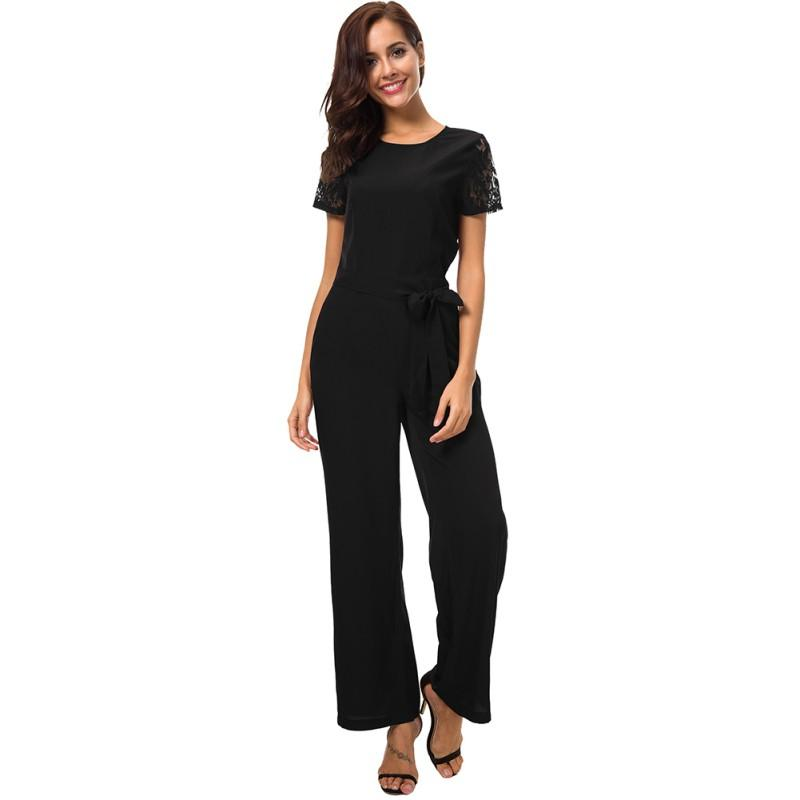 Office Lace Short Sleeve Jumpsuit Hollow Out Back O Neck Top Summer Jumpsuit Female Black / Red Blacklesss Fit Work Jumpsuits