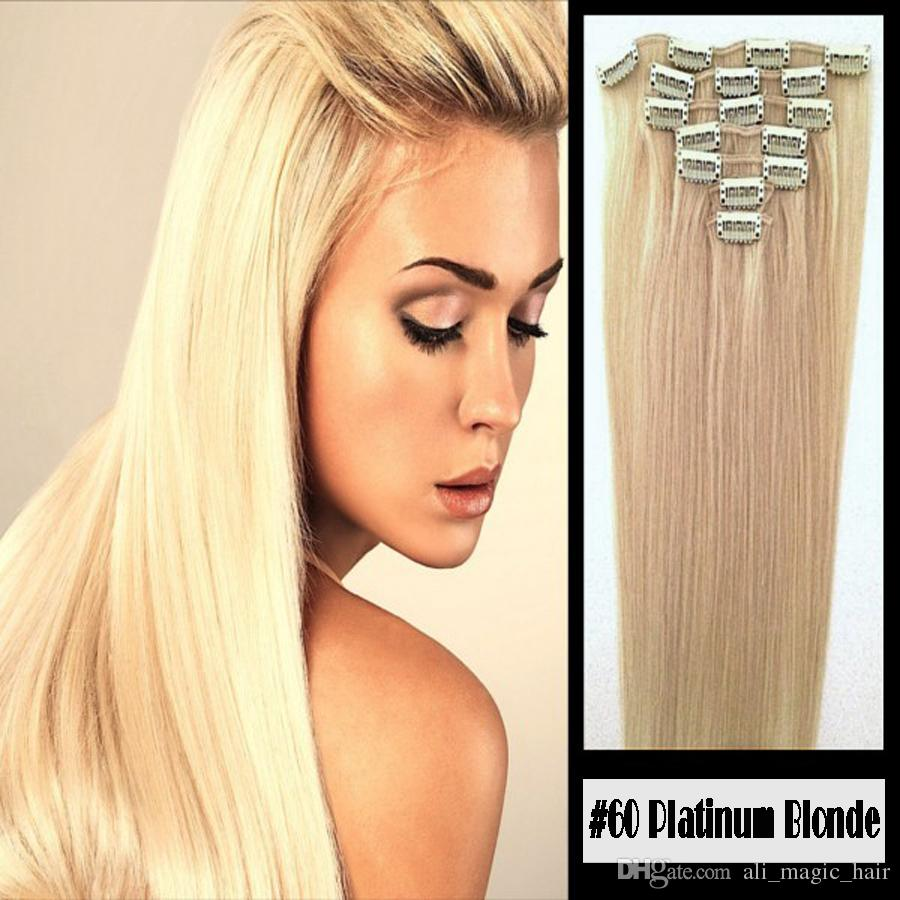 """Clip In 100% Remy Human Hair Extensions #60 Platinum Blonde 8""""-24"""" Grade 8A Quality Full Head 7pcs 16clips Short Soft Silky Straight"""