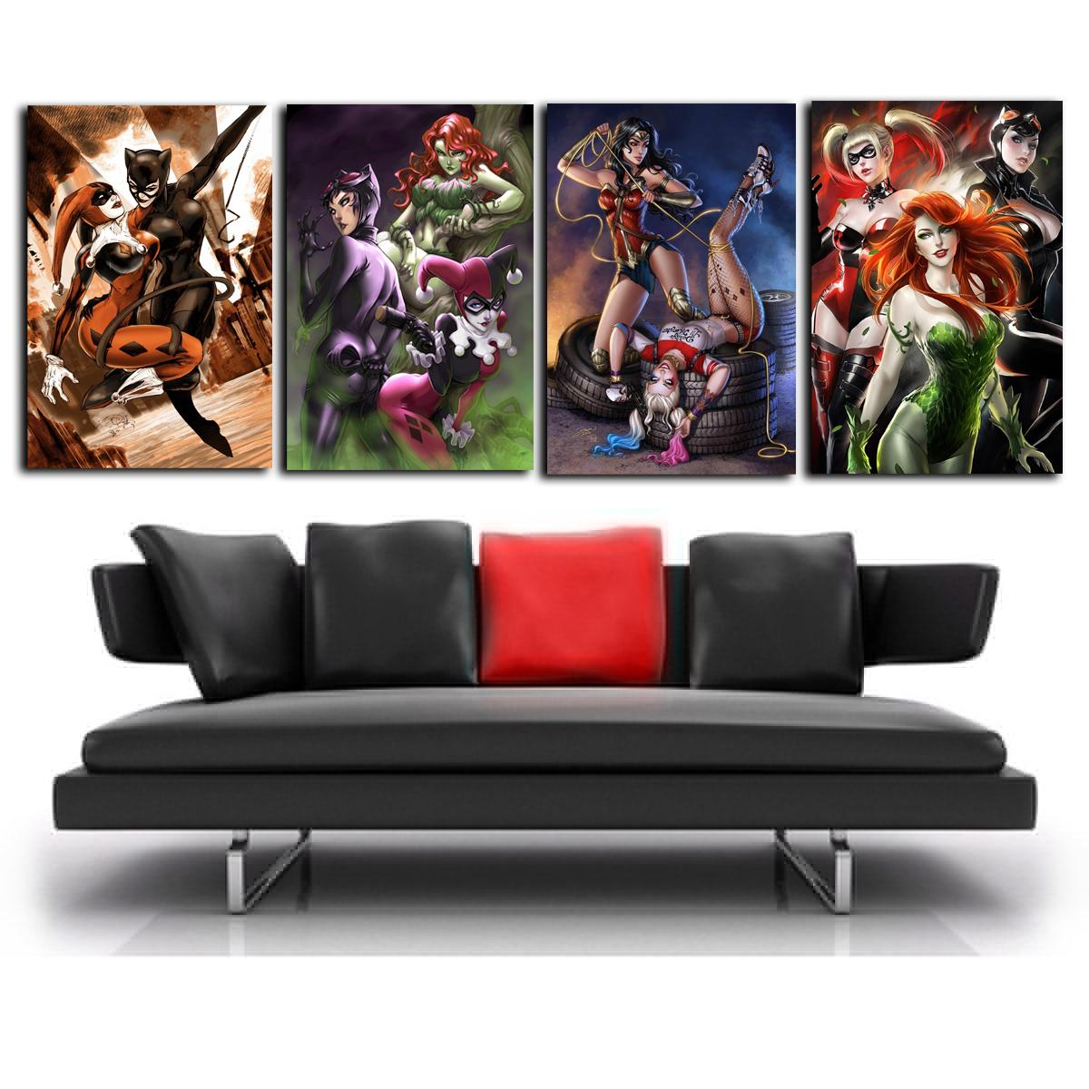 Cat Woman Harley Quinn Poison Ivy Wonder Woman,4 Pieces Canvas Prints Wall Art Oil Painting Home Decor (Unframed/Framed)